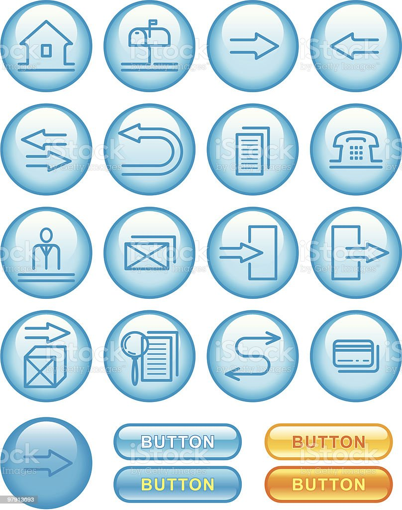 Web Icons Set - Blue royalty-free stock vector art