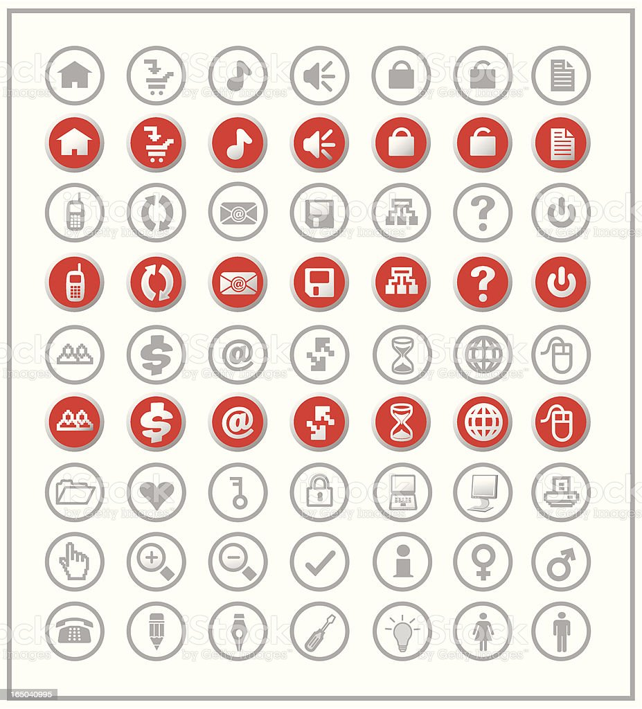 Web Icons Set in Red royalty-free stock vector art