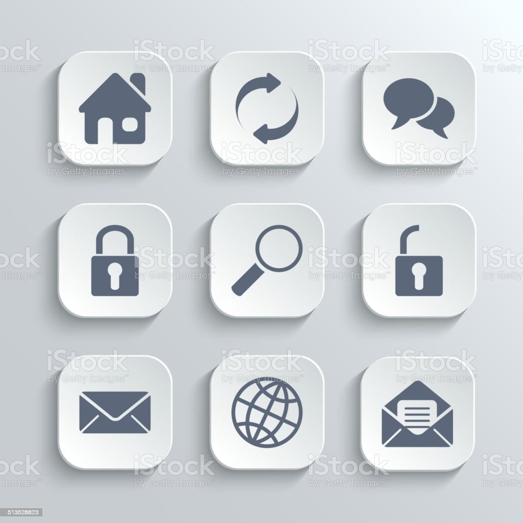 Web icons set - vector white app buttons vector art illustration