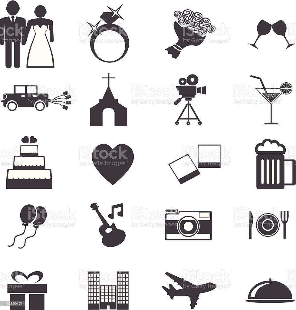 Web icons set. Wedding, bride groom, love, celebration. vector  illustrations vector art illustration