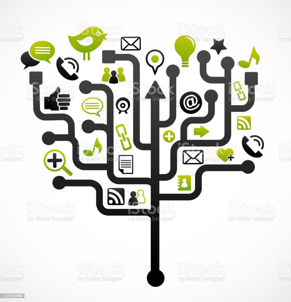 web icons tree - communication theme vector art illustration