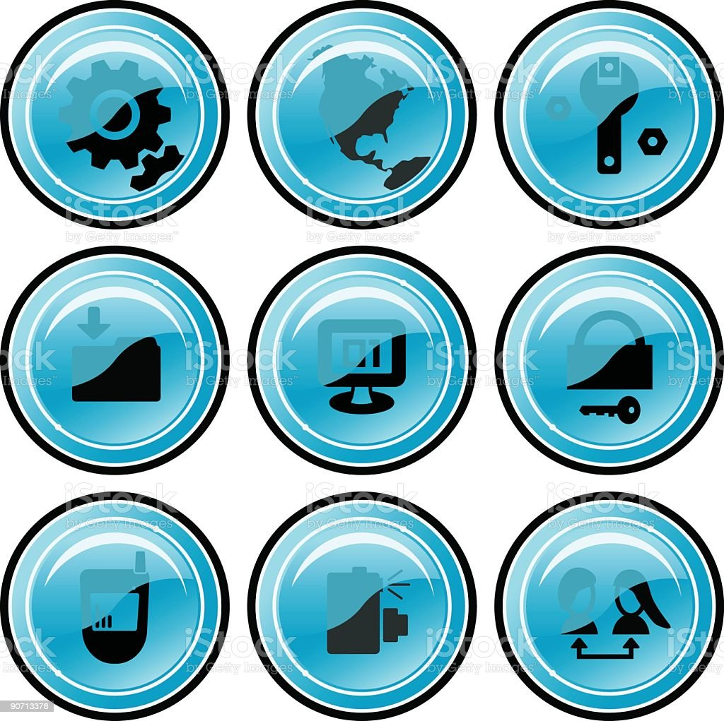 Web Icons (blue) royalty-free stock vector art