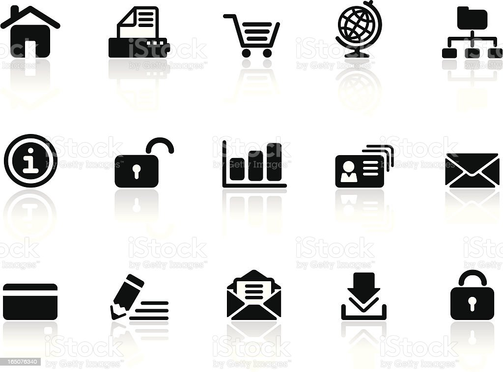 Web & Internet Icons   Black & White Series royalty-free stock vector art