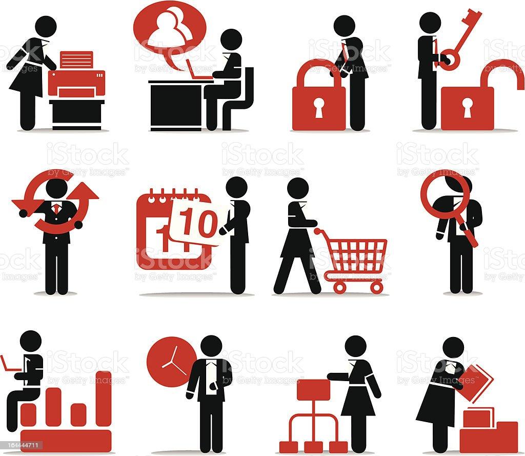 Web & Internet Icons - Vivid Stick Figure Series vector art illustration
