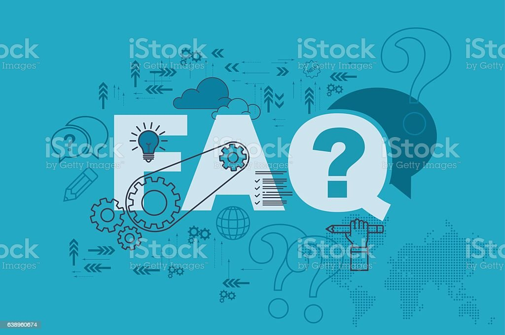 FAQ web page banner concept with thin line flat design vector art illustration