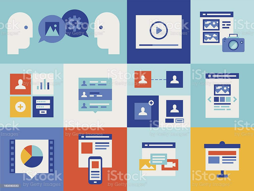 Web presentation and interface icons royalty-free stock vector art