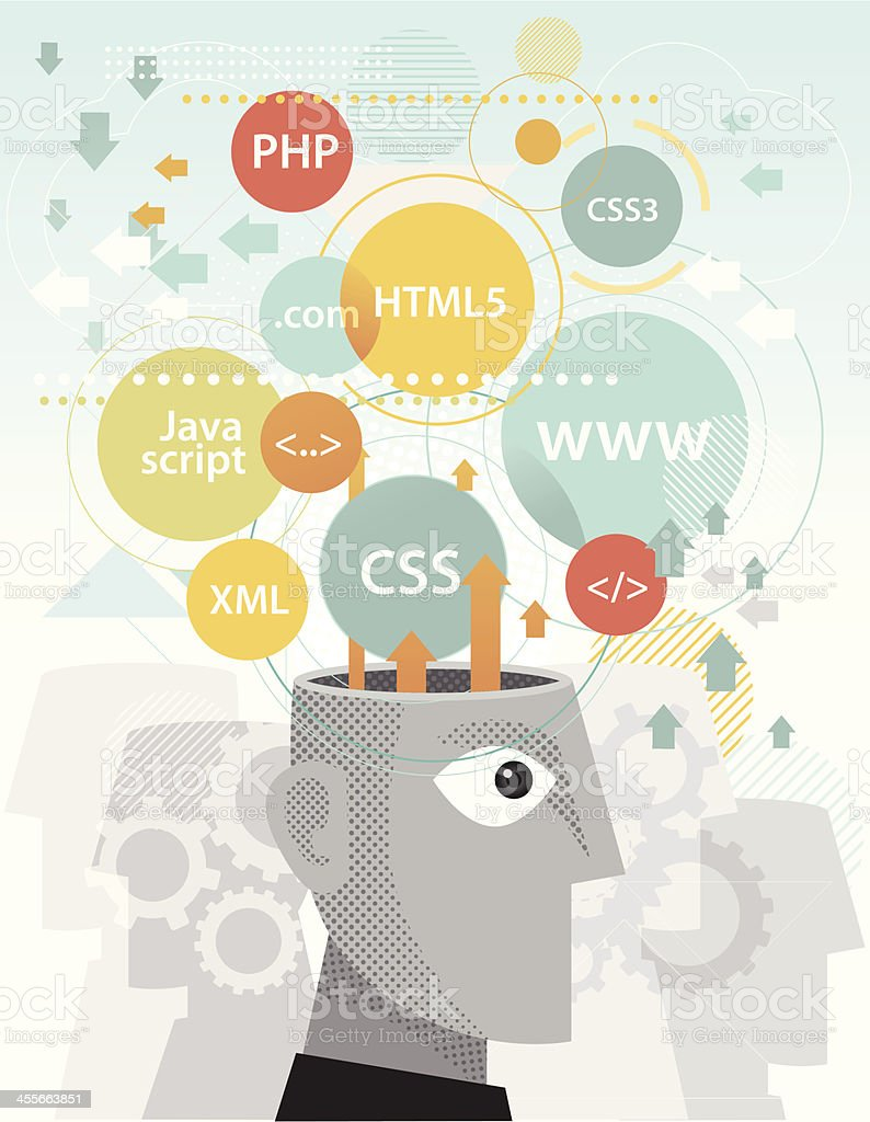 Web programming expert vector art illustration