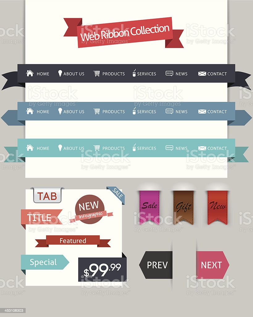 Web Ribbon Collection vector art illustration