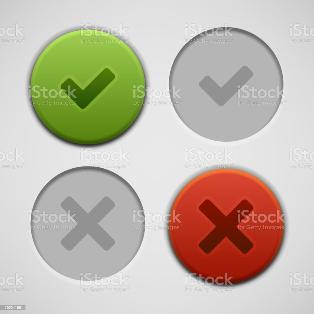 Web site check vector buttons and icons set royalty-free stock vector art
