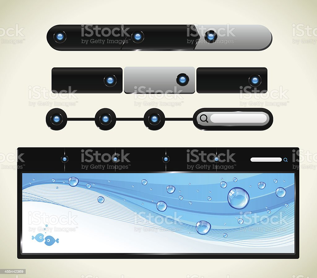 Web site navigation set vector art illustration