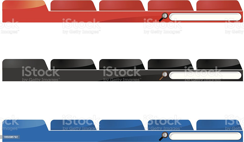 Web site navigation tool bars vector art illustration