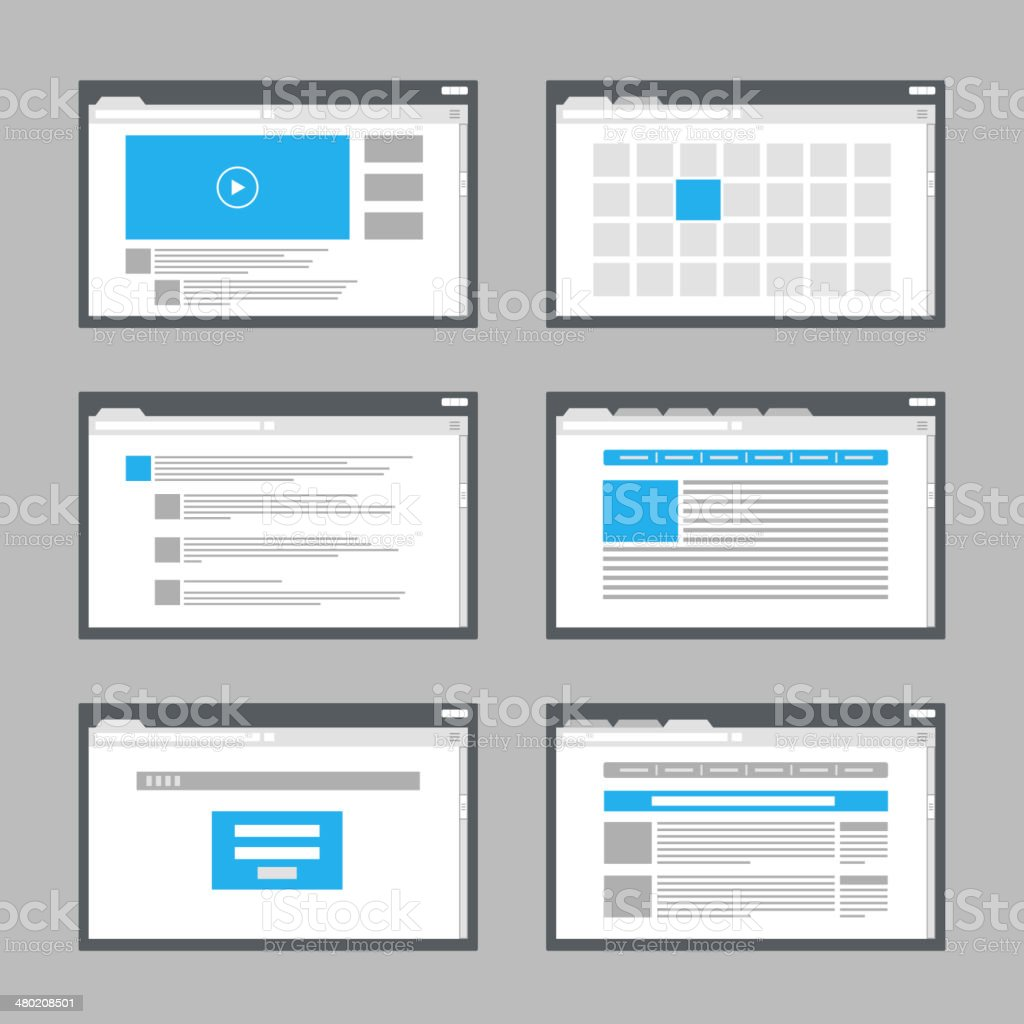 web site page templates collection vector art illustration