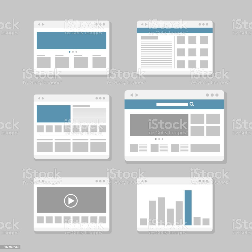 Web site pages collection vector art illustration