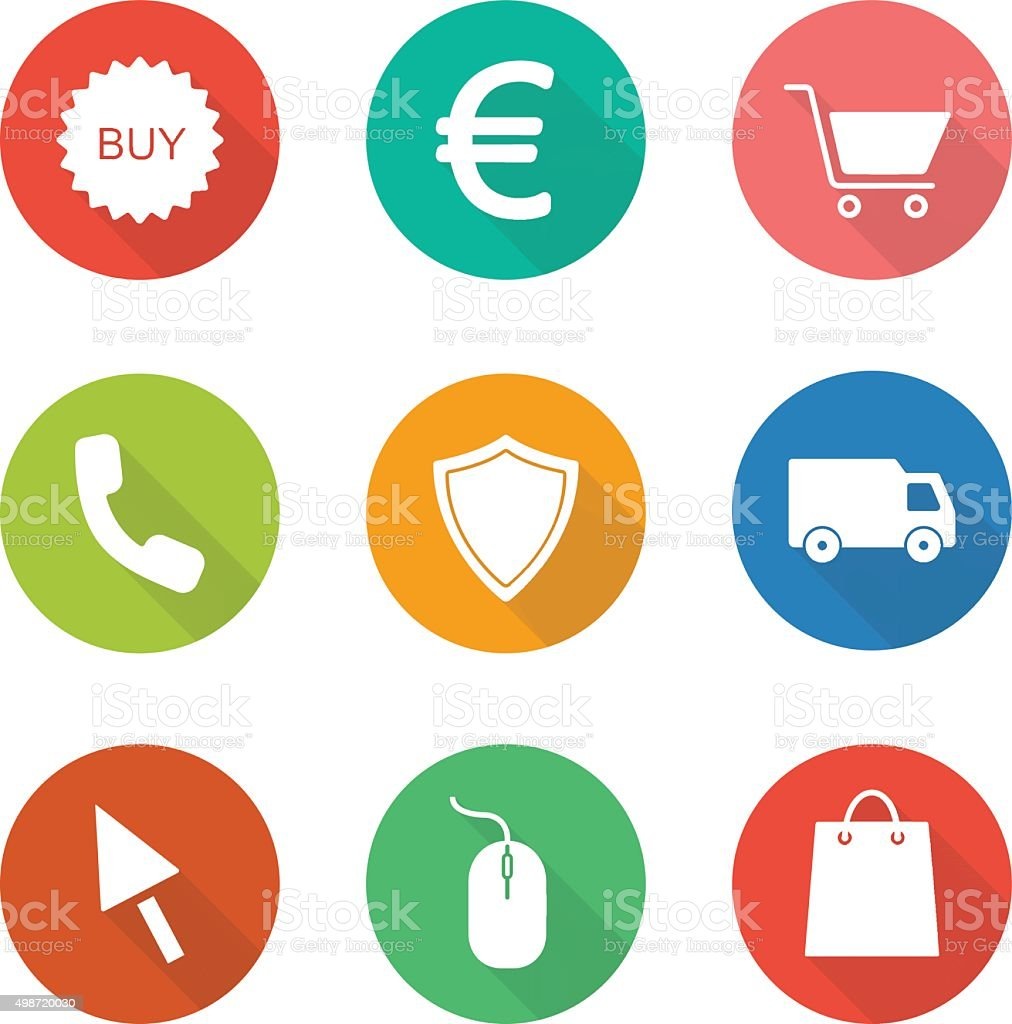 Web store flat design icons set vector art illustration