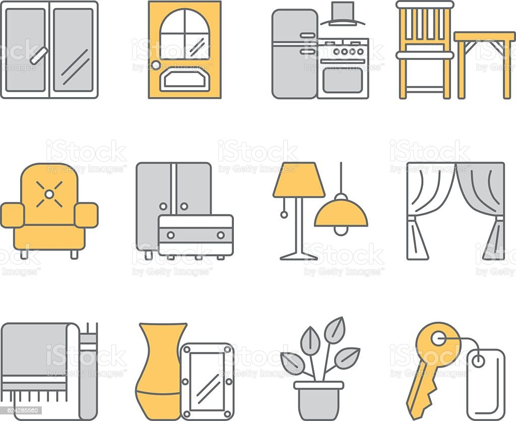 Web Template With Thin Line Icons Of Interior Design Royalty Free Stock Vector Art