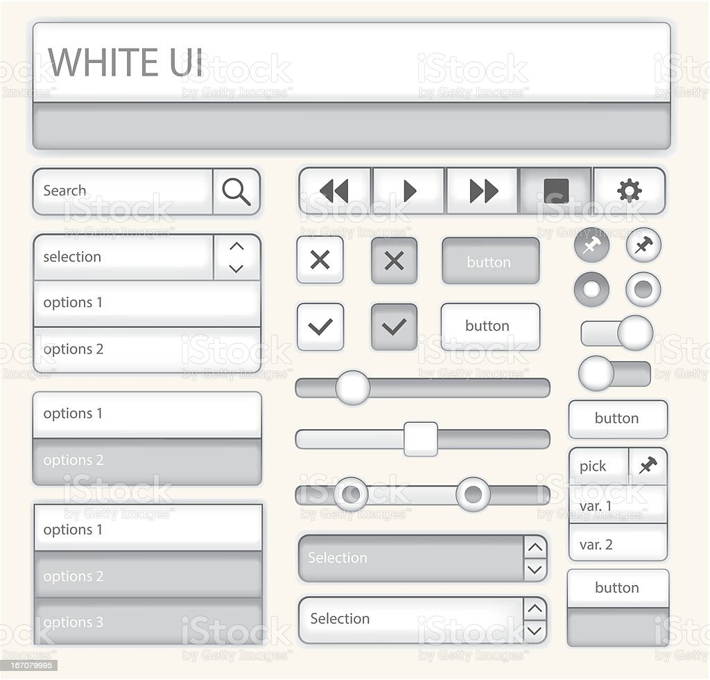 Web UI Elements: White royalty-free stock vector art