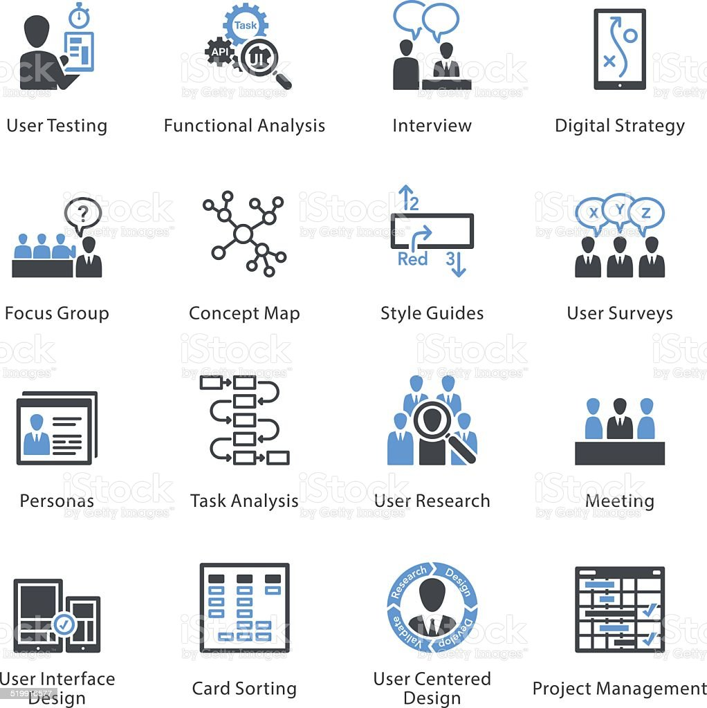 Web Usability & Accessibility Icons Set 1 - Bleu Series vector art illustration