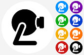 Webcam Icon on Flat Color Circle Buttons