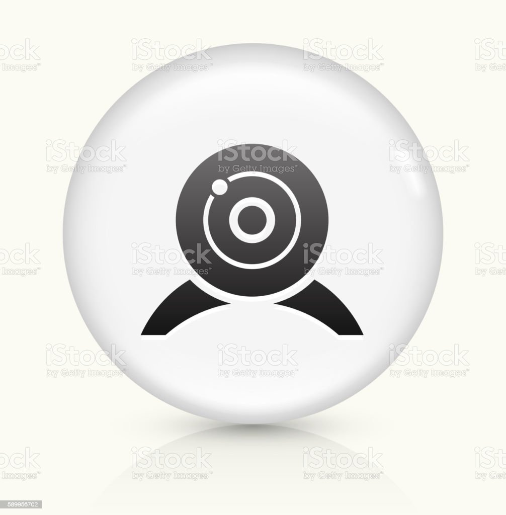 Webcam icon on white round vector button vector art illustration