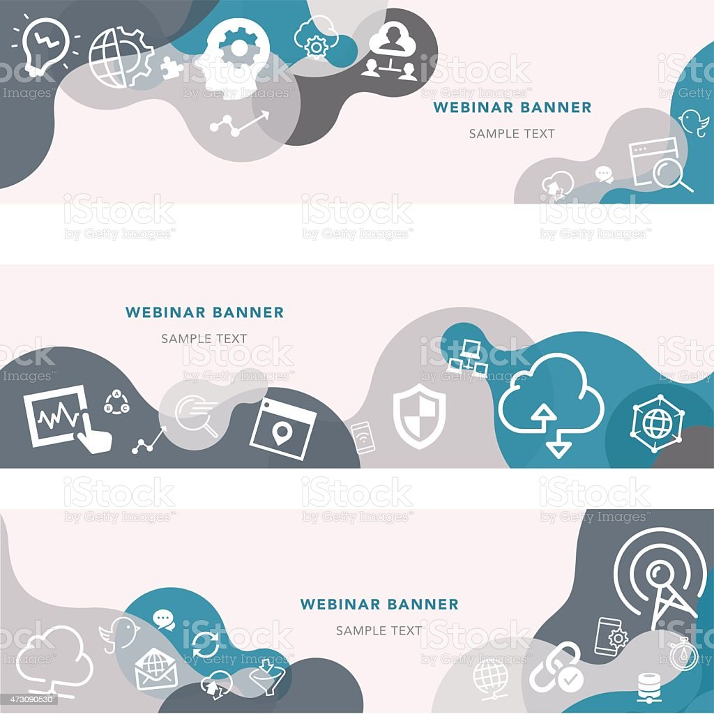 Webinar Banners And Relevant Icon Set vector art illustration
