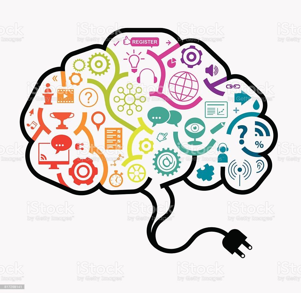Webinar Brain Concept vector art illustration