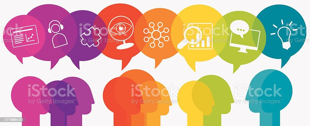 Webinar Concept Heads With Speech Bubbles And Icons vector art illustration