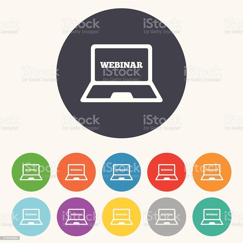 Webinar laptop sign icon. Notebook Web study. vector art illustration