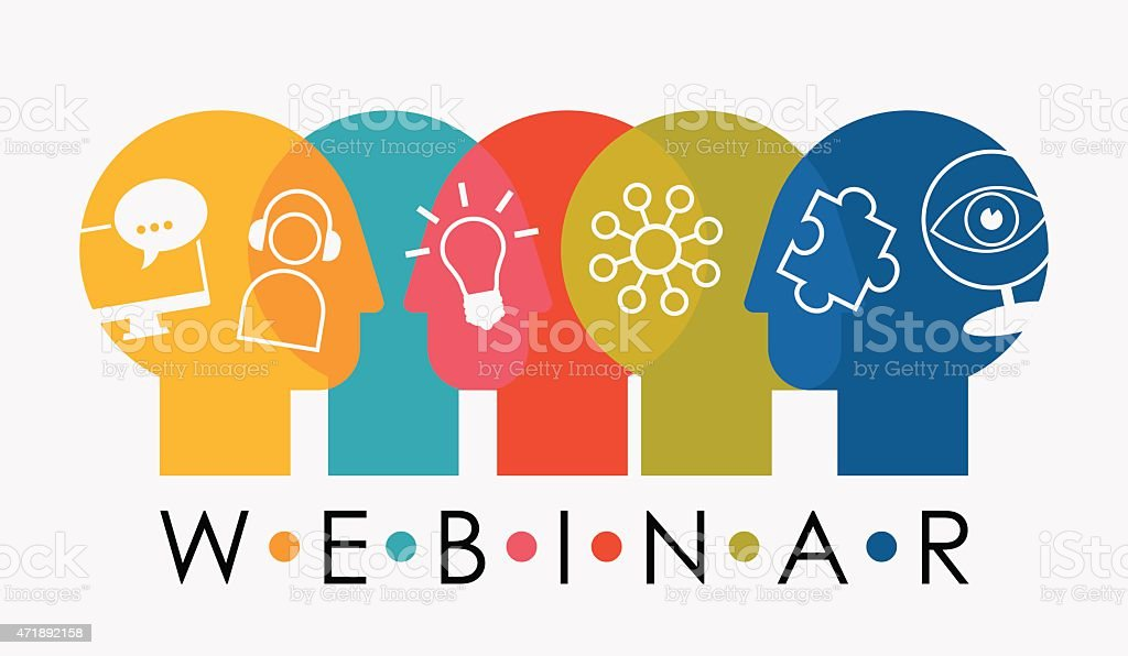 Webinar Multiple Overlapping Heads With Icons vector art illustration
