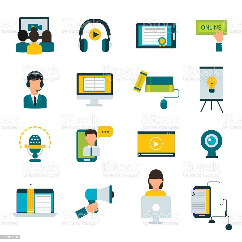 Webinar online education flat icons vector set vector art illustration