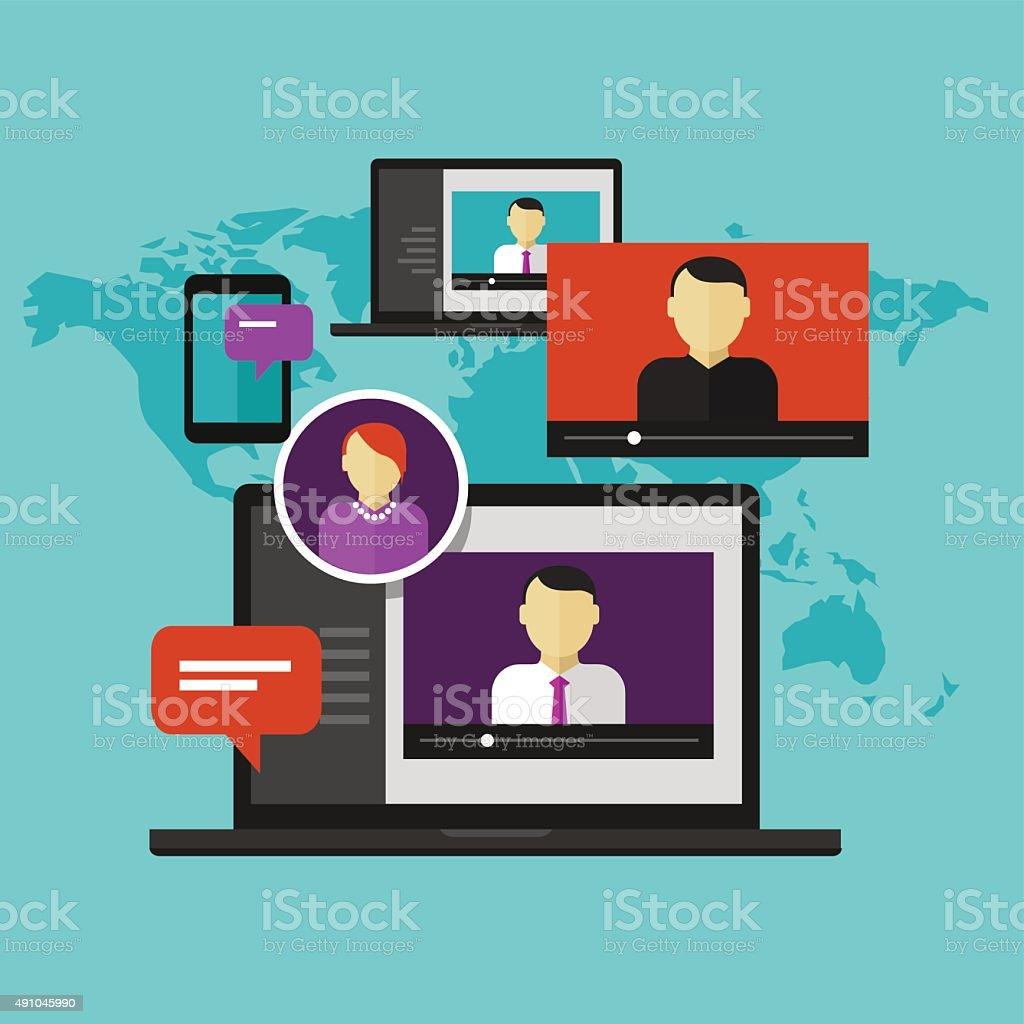 webinar online training education concept distance learning e-learning vector art illustration