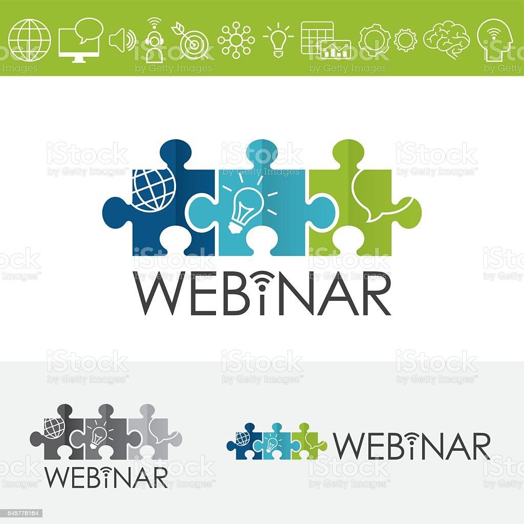 Webinar Puzzles Logo Including Icons Set vector art illustration