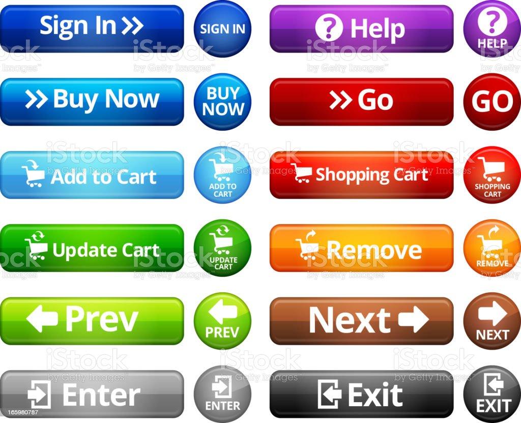 Webpage Navigation Internet Buttons royalty free vector set vector art illustration