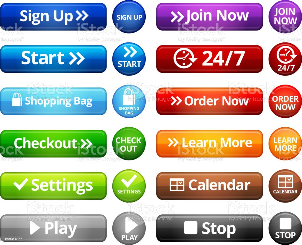 Webpage Navigation Internet Buttons royalty free vector set royalty-free stock vector art