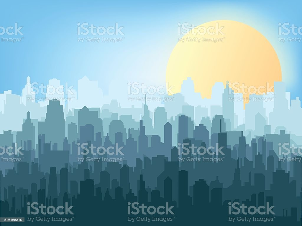 WebSilhouette of the city vector art illustration