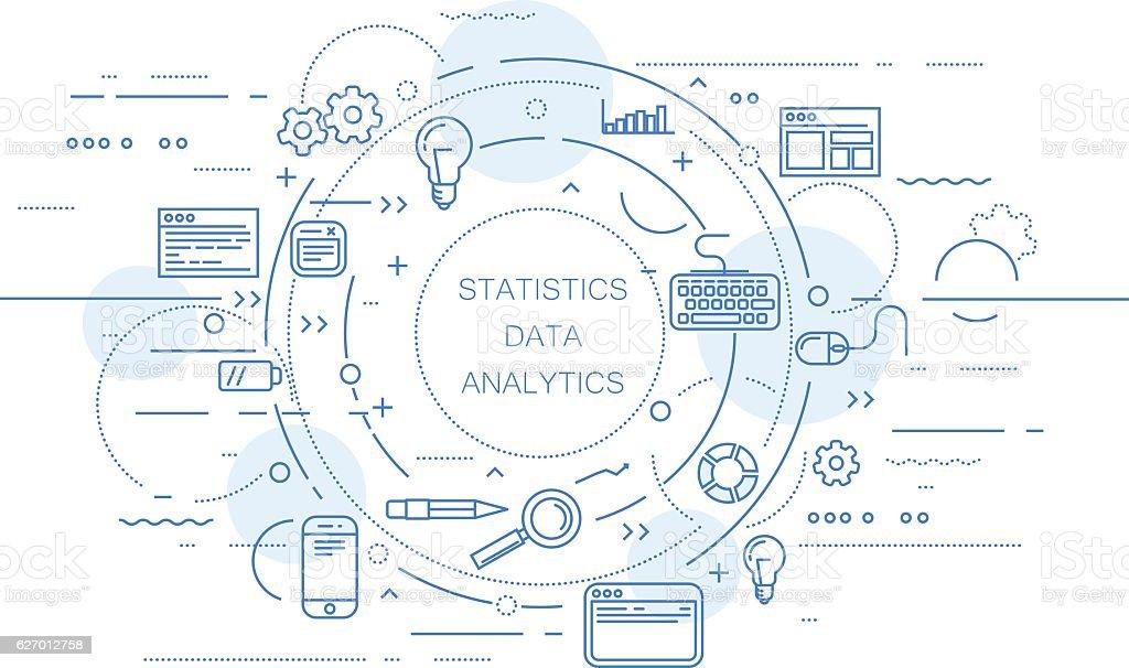Website analytics and data statistics abstract design vector art illustration