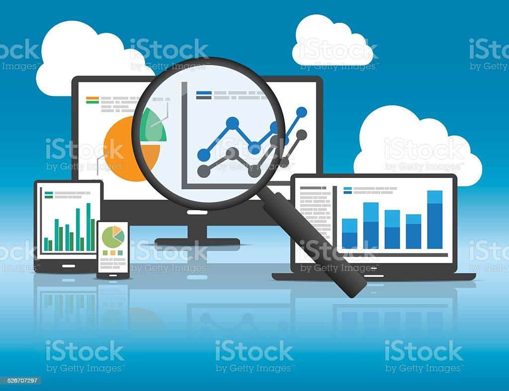 Website analytics and SEO data analysis concept. vector art illustration