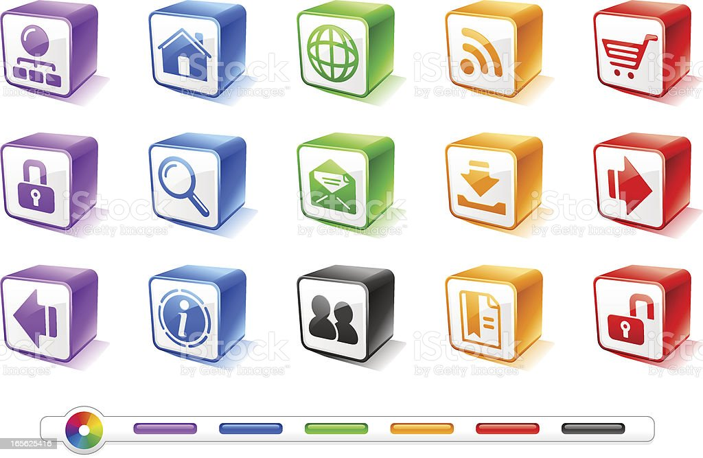 Website and Internet 1   ColorBoxes Icons royalty-free stock vector art