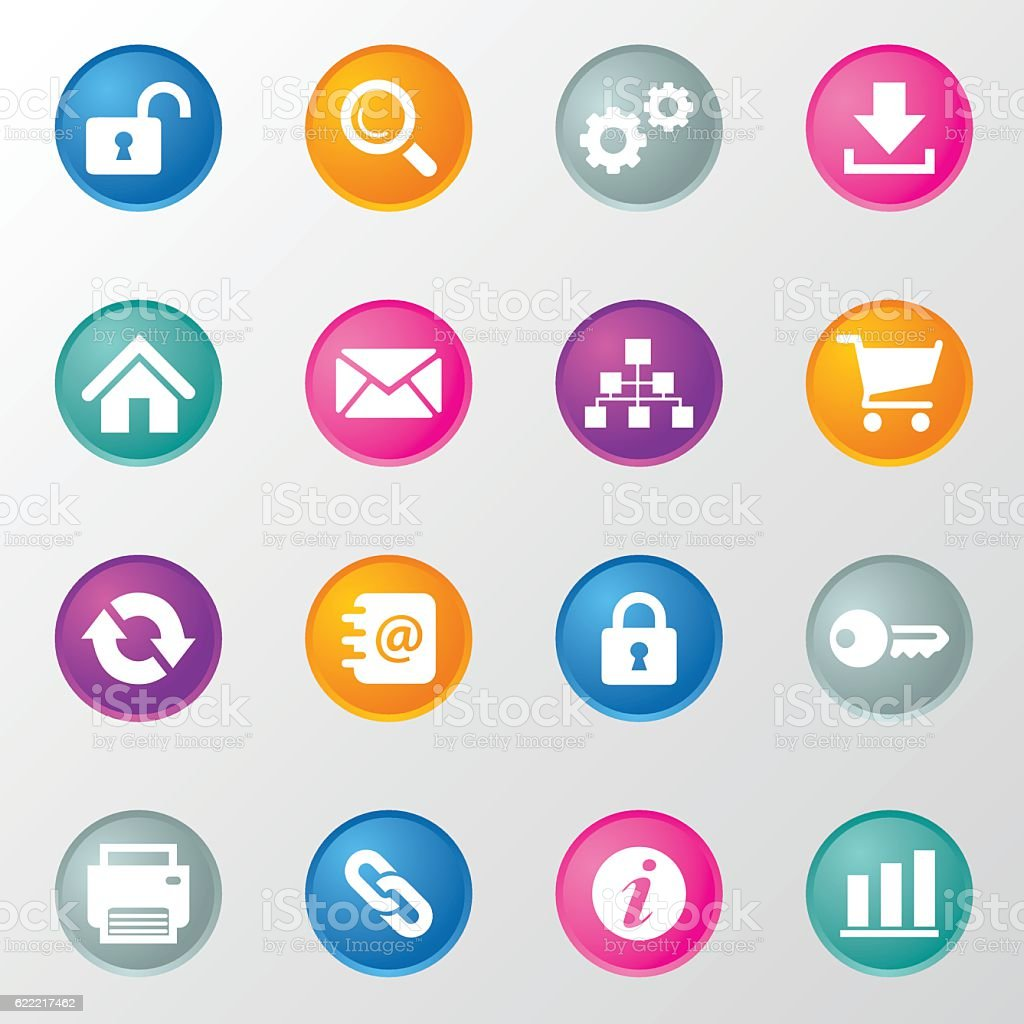 Website and Internet Circle Color Icons vector art illustration