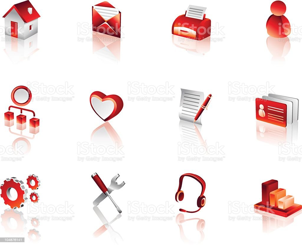 Website and Internet Icons 1 | red3d royalty-free stock vector art