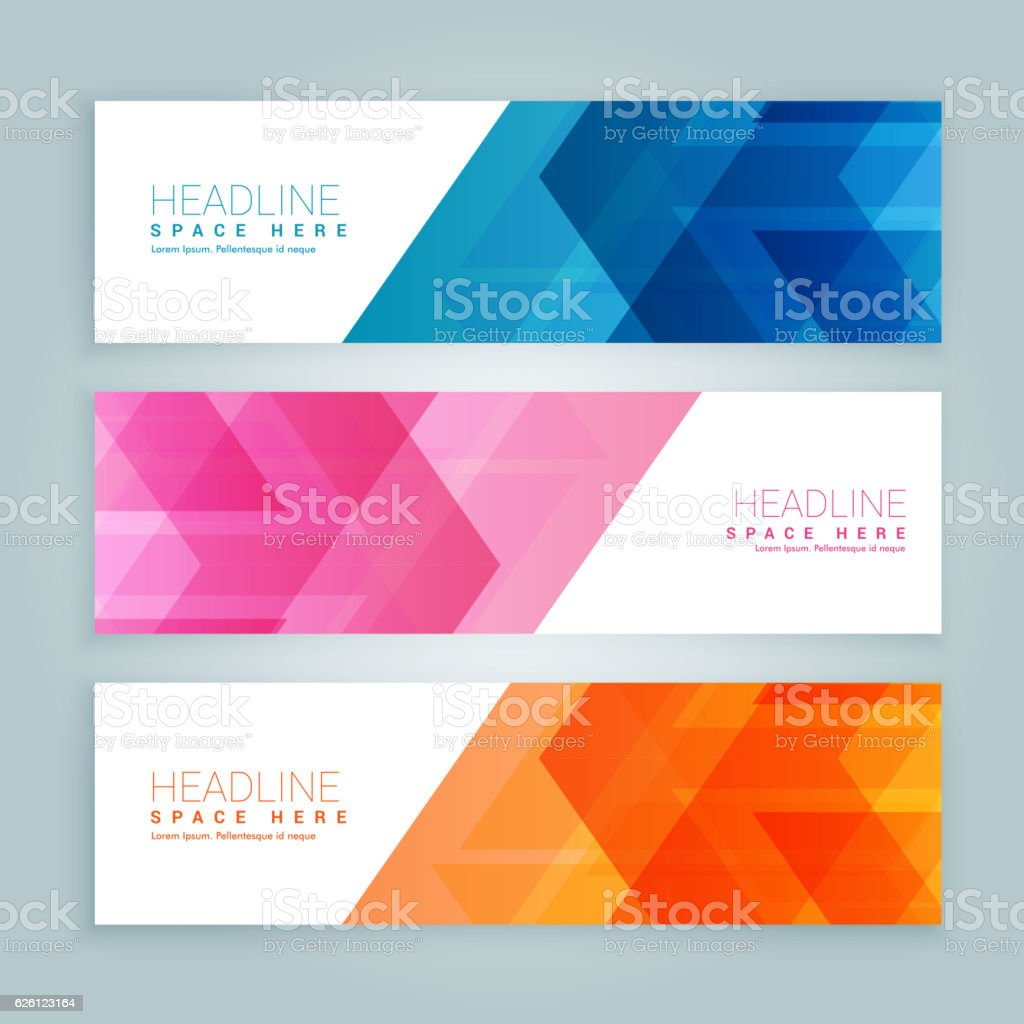 Colors art website - Website Banners In Three Different Colors Royalty Free Stock Vector Art