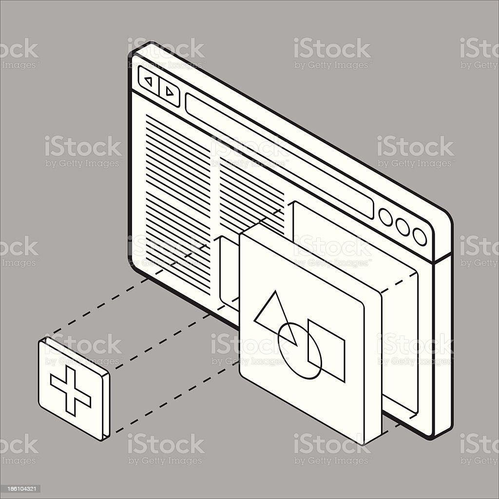 Website builder wireframe royalty-free stock vector art
