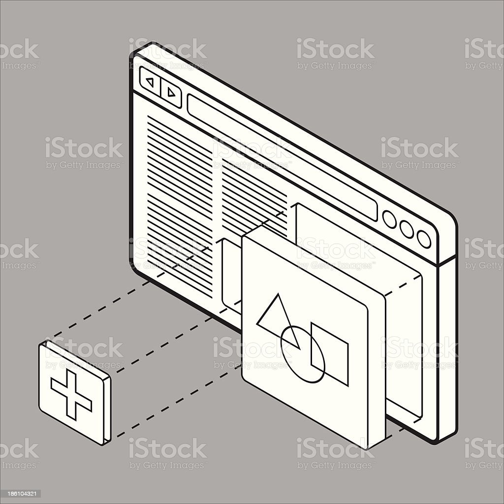 Website builder wireframe vector art illustration