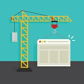 Website building process vector illustration, concept of web page developing