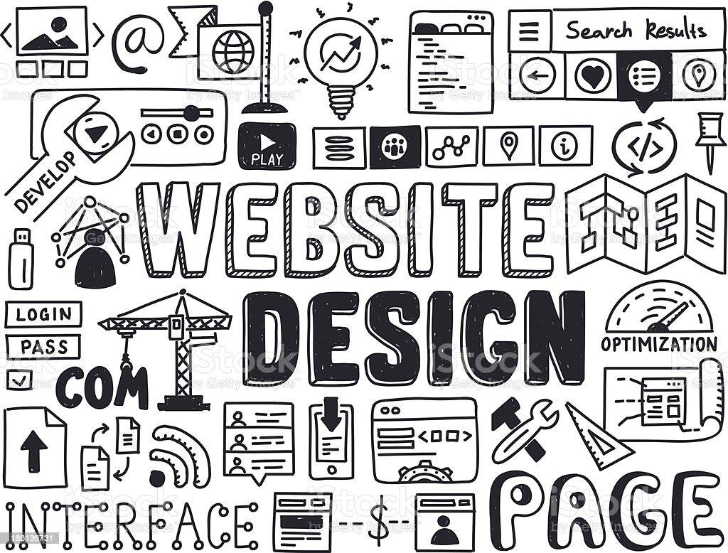 Website design doodle elements vector art illustration