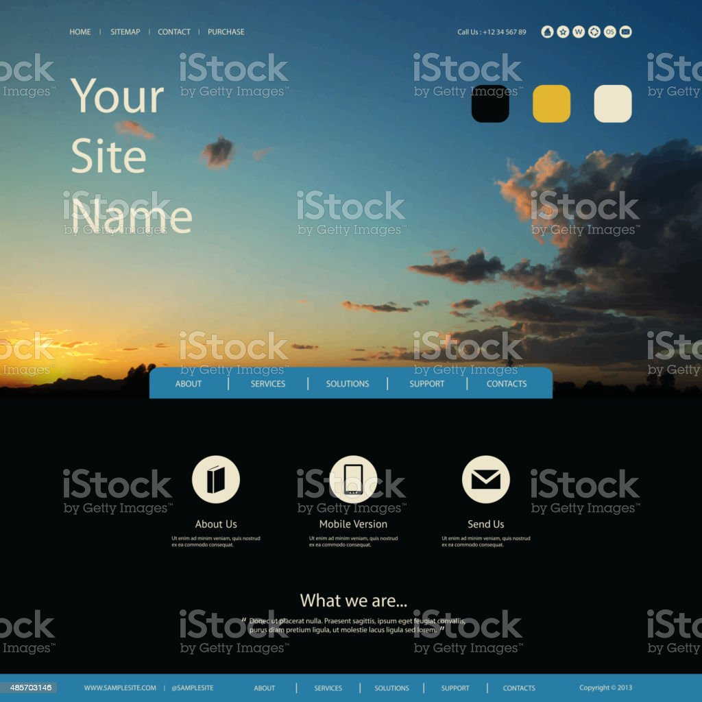 Website Design Template for Your Business with Sunset Panorama Image stock photo