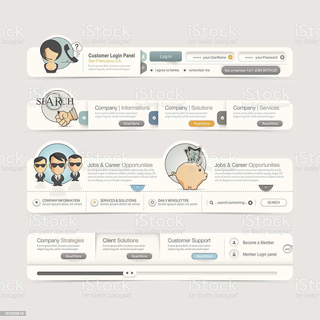 Website design template  menu navigation elements with icons set. royalty-free stock vector art