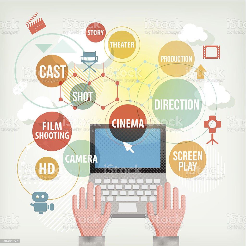 website for film makers vector art illustration