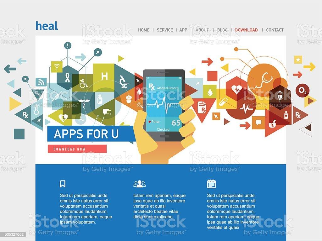 website for Healthcare app vector art illustration
