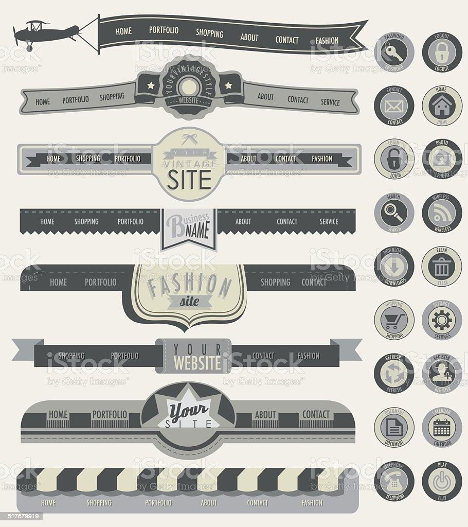 Website headers and navigation elements. vector art illustration