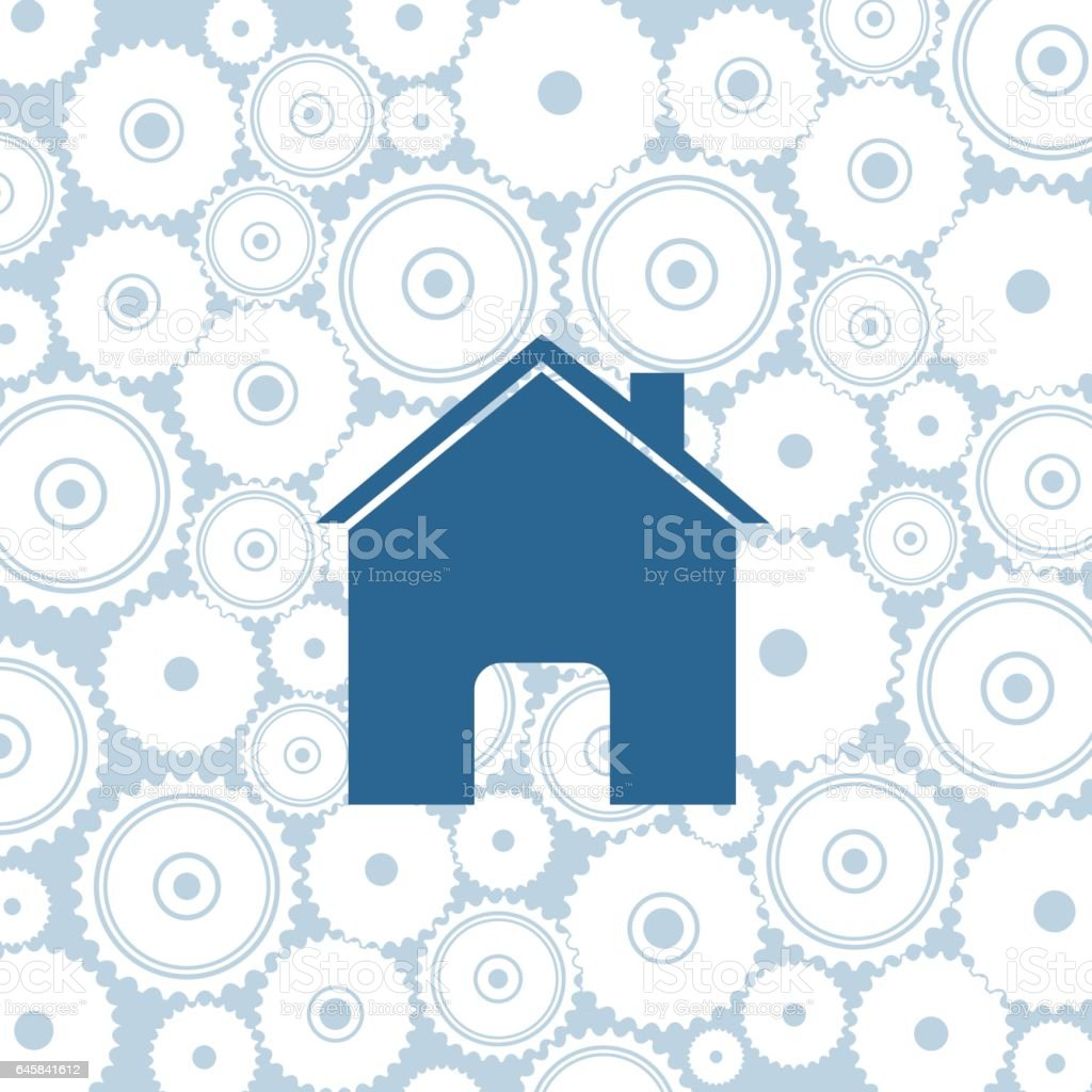 Website Icon On A Gears Background Pattern vector art illustration